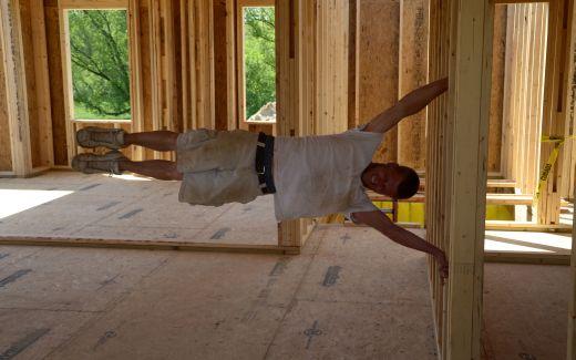 Matt making sure walls are vertical