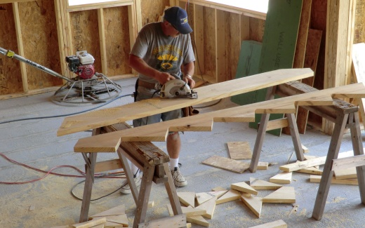 Fred cutting stair stringer