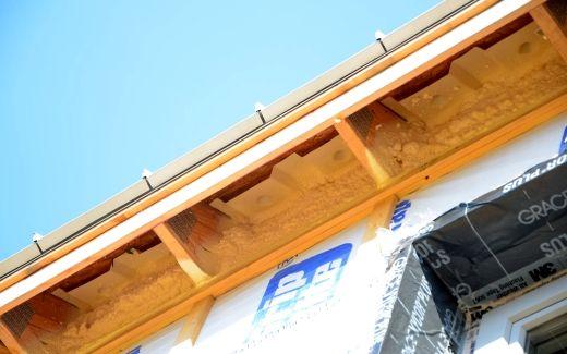 Foam insulation in eaves