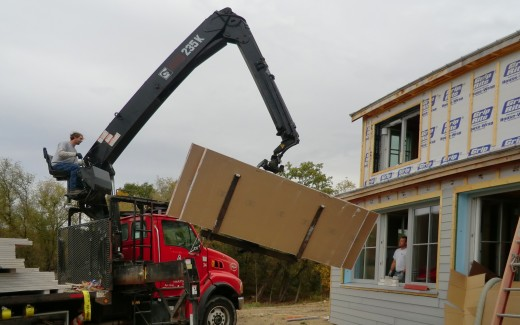 Delivering drywall to upstairs