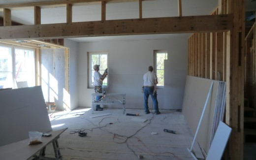 Drywalling family room
