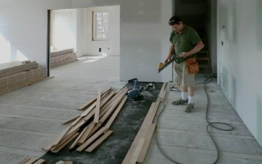 Beginning of oak flooring