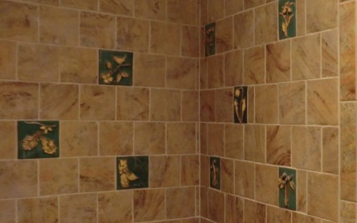Decorative nature tiles in shower