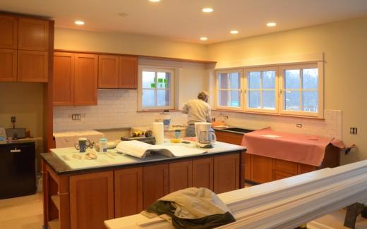 Bob working on kitchen back splash
