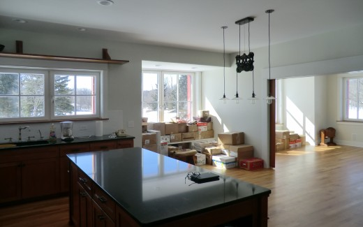 Boxes in kitchen and parlor