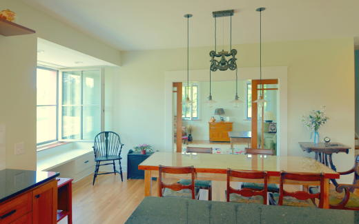 Dining area with carriage company workbench table
