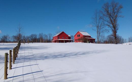 Snow, fence, shadows