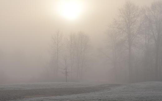 Sunrise, haze, frost